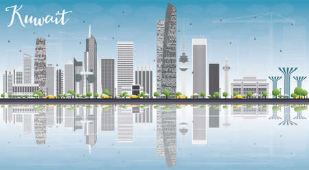 Kuwait City Skyline with Gray Buildings, Blue Sky and Reflections. Vector Illustration. Business Travel and Tourism Concept with Modern Buildings. Image for Presentation Banner Placard and Web. Illustration