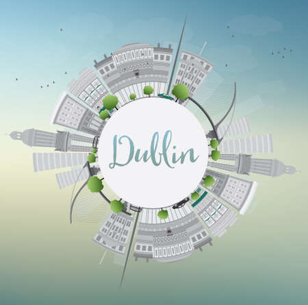 castles needle: Dublin Skyline with Gray Buildings, Blue Sky and Copy Space, Ireland. Vector Illustration. Business Travel and Tourism Concept with Historic Buildings. Image for Presentation Banner Placard and Web Site. Illustration