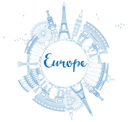 famous place: Famous landmarks in Europe. Outline Vector illustration. Business travel and tourism concept with place for text. Image for presentation, banner, placard and web site