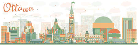 ottawa: Abstract Ottawa Skyline with Color Buildings. Vector Illustration. Business travel and tourism concept with modern buildings. Image for presentation, banner, placard and web site.