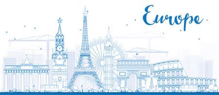 Beroemde bezienswaardigheden in Europa. Outline Vector illustratie. Zakelijke reizen en toerisme concept met plaats voor tekst. Afbeelding voor de presentatie, banner, aanplakbiljet en website