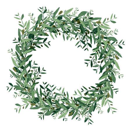 수채화 올리브 화 환입니다. 흰색 배경에 고립 된 그림입니다. 유기 및 자연 개념입니다.