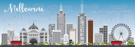Melbourne Skyline with Gray Buildings and Blue Sky. Vector Illustration. Business Travel and Tourism Concept with Modern Buildings. Image for Presentation Banner Placard and Web Site.