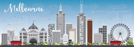 회색 건물와 푸른 하늘 멜버른 지평선. 벡터 일러스트 레이 션. 현대적인 건물 비즈니스 여행 및 관광 개념입니다. 프레젠테이션 배너 플래 카드 및 웹  일러스트