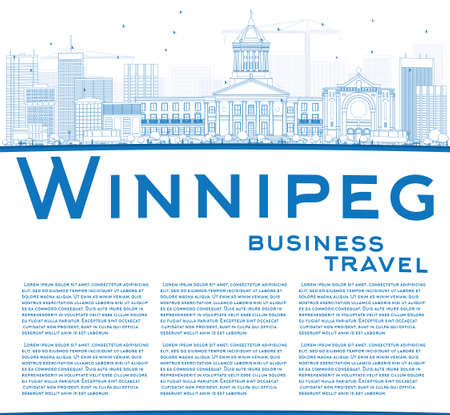 winnipeg: Outline Winnipeg Skyline with Blue Buildings and Copy Space. Vector Illustration. Business Travel and Tourism Concept with Modern Buildings. Image for Presentation Banner Placard and Web Site.