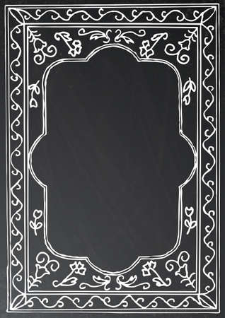 old style: Chalk painted frame on black background. Vector illustration. Business concept with black chalkboard and copy space.