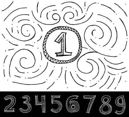 math set: Hand Drawn Numbers with swirl pattern on white background. Vector Illustration.