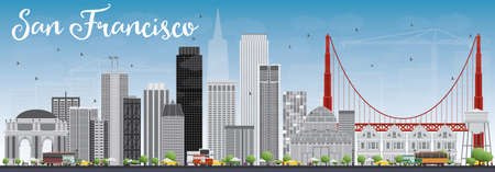San Francisco Skyline with Gray Buildings and Blue Sky. Vector Illustration. Business Travel and Tourism Concept with Modern Buildings. Image for Presentation Banner Placard and Web Site.