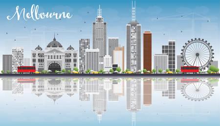 회색 건물, 푸른 하늘 및 반사와 멜버른 스카이 라인. 벡터 일러스트 레이 션. 현대적인 건물 비즈니스 여행 및 관광 개념입니다. 프레젠테이션 배너 플