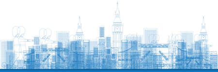 london skyline: Outline London skyline with blue buildings and soldiers. Vector illustration. Business and tourism concept with skyscrapers. Image for presentation, banner, placard or web site Illustration