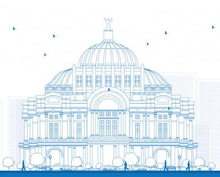 Outline Het Paleis voor Schone Kunsten / Palacio de Bellas Artes in Mexico City, Mexico. Vector illustratie. Business Travel en Toerisme Concept met historische gebouw. Afbeelding voor Presentatie Banner Placard en Website.