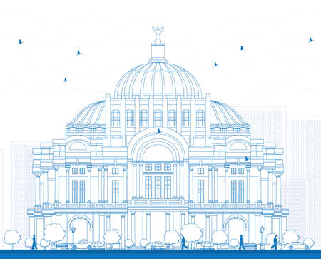 fine arts: Outline The Fine Arts PalacePalacio de Bellas Artes in Mexico City, Mexico. Vector illustration. Business Travel and Tourism Concept with Historic Building. Image for Presentation Banner Placard and Web Site.