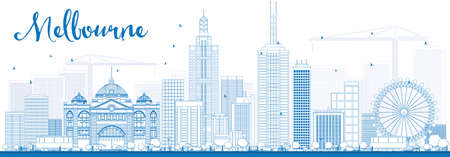 victoria: Melbourne Skyline with Blue Buildings. Vector Illustration. Business Travel and Tourism Concept with Modern Buildings. Image for Presentation Banner Placard and Web Site. Illustration