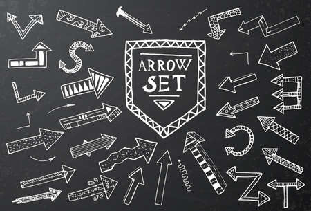 black and white background: Hand drawn arrow icons set on black chalk board. Vector Illustration. Education or business concept.