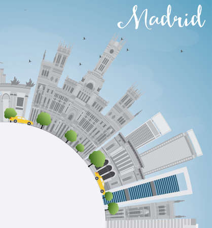 Madrid Skyline with Gray Buildings, Blue Sky and Copy Space. Business Travel and Tourism Concept with Historic Buildings. Image for Presentation, Banner, Placard and Web Site. Vector Illustration.