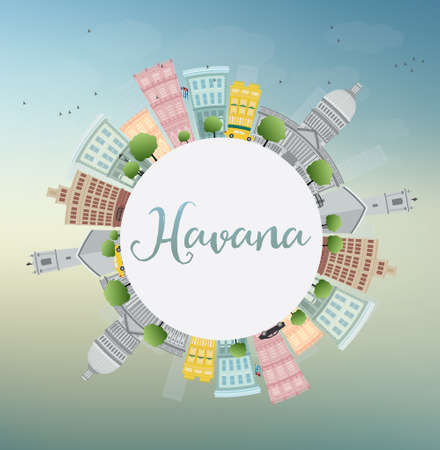 historic building: Havana Skyline with Color Building, Blue Sky and Copy Space. Vector Illustration. Business Travel and Tourism Concept with Historic Buildings. Image for Presentation Banner Placard and Web Site.