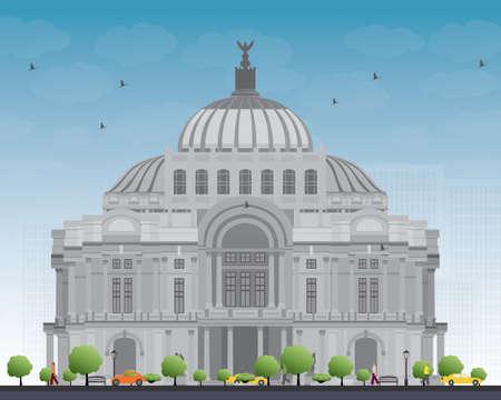 Het Paleis voor Schone Kunsten  Palacio de Bellas Artes in Mexico City, Mexico. Vector illustratie. Business Travel en Toerisme Concept met historische gebouw. Afbeelding voor Presentatie Banner Placard en Website.
