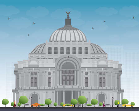 fine arts: The Fine Arts PalacePalacio de Bellas Artes in Mexico City, Mexico. Vector illustration. Business Travel and Tourism Concept with Historic Building. Image for Presentation Banner Placard and Web Site.