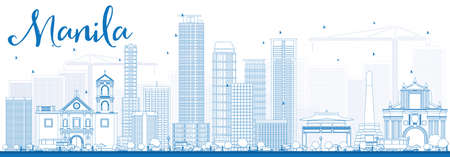 Outline Manila Skyline met Blue Gebouwen. Vector Illustratie. Business Travel en Toerisme Concept met moderne gebouwen. Afbeelding voor Presentatie Banner Placard en Website. Stock Illustratie