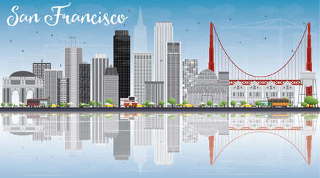 San Francisco Skyline with Gray Buildings, Blue Sky and Reflection. Vector Illustration. Business Travel and Tourism Concept with Modern Buildings. Image for Presentation Banner Placard and Web Site.