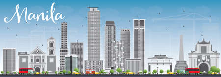 manila: Manila Skyline with Gray Buildings and Blue Sky. Vector Illustration. Business Travel and Tourism Concept with Modern Buildings. Image for Presentation Banner Placard and Web Site.