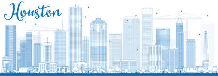 Outline Houston Skyline with Blue Buildings. Vector Illustration. Business Travel and Tourism Concept with Modern Buildings. Image for Presentation Banner Placard and Web Site.