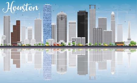 회색 건물, 푸른 하늘 및 반사 휴스턴 스카이 라인. 벡터 일러스트 레이 션. 현대적인 건물 비즈니스 여행 및 관광 개념입니다. 프레젠테이션 배너 플래 일러스트