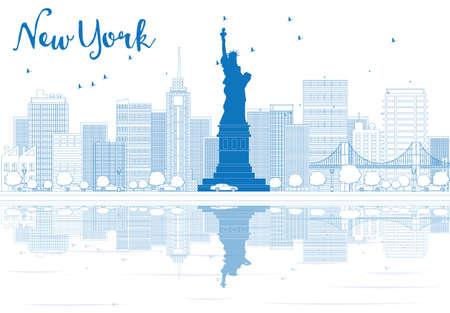 new york city skyline: Outline New York city skyline with blue buildings. Vector illustration. Business travel and tourism concept with place for text. Image for presentation, banner, placard and web site