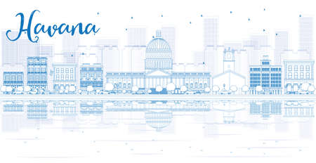 havana cuba: Outline Havana skyline with blue buildings and reflections. Vector illustration. Business travel and tourism concept with place for text. Image for presentation, banner, placard and web site.