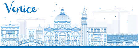 Outline Venice Skyline Silhouette with Blue Buildings. Vector Illustration. Business Travel and Tourism Concept with Historic Buildings. Image for Presentation Banner and Placard. Illustration