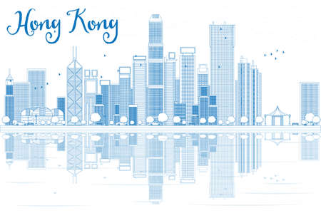 Outline Hong Kong skyline with blue buildings. Vector illustration. Business travel and tourism concept with modern buildings. Image for presentation, banner, placard and web site.  イラスト・ベクター素材