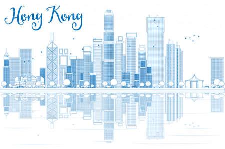Outline Hong Kong skyline met blauwe gebouwen. Vector illustratie. Zakelijke reizen en toerisme concept met moderne gebouwen. Afbeelding voor de presentatie, banner, aanplakbiljet en website. Stock Illustratie
