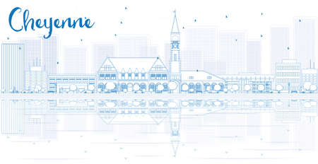 cheyenne: Outline Cheyenne skyline with blue buildings and reflections. Vector illustration. Business travel and tourism concept with place for text. Image for presentation, banner, placard and web site.
