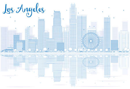 Outline Los Angeles skyline with blue buildings and reflections. Vector illustration. Business travel and tourism concept with place for text. Image for presentation, banner, placard and web site. Stock Illustratie