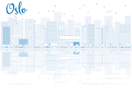 Outline Oslo Skyline with Blue Buildings and reflections. Vector Illustration. Business travel and tourism concept with place for text. Image for presentation, banner, placard and web site.