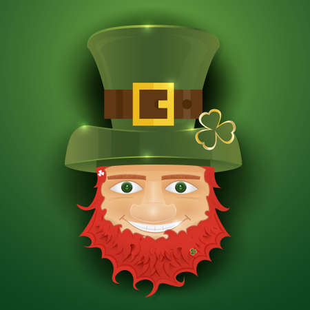 clover face: Portrait of Leprechaun. Irish man with clover leaf and hat. St. Patricks Day design with copy space. Vector illustration.