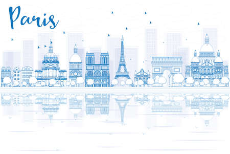 paris skyline: Outline Paris skyline with blue buildings and reflections. Vector illustration. Business travel and tourism concept with place for text. Image for presentation, banner, placard and web site.