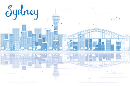 australia landscape: Outline Sydney City skyline with skyscrapers and reflections. Vector illustration. Business travel and tourism concept with place for text. Image for presentation, banner, placard and web site.