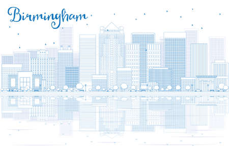 birmingham: Outline Birmingham skyline with blue buildings and reflections. Vector illustration. Business travel and tourism concept with place for text. Image for presentation, banner, placard and web site. Illustration