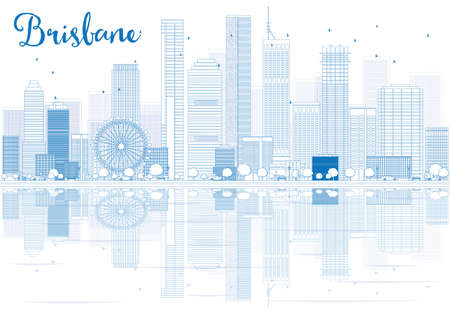 urban city: Outline Brisbane skyline with blue buildings and reflections. Vector illustration. Business travel and tourism concept with place for text. Image for presentation, banner, placard and web site.