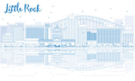 little rock: Outline Little Rock skyline with blue buildings and reflections. Vector illustration. Business travel and tourism concept with place for text. Image for presentation, banner, placard and web site.