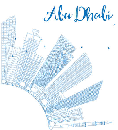 sky scraper: Outline Abu Dhabi City Skyline with Blue Buildings and Copy Space. Vector Illustration. Business Travel and Tourism Concept with Modern Buildings. Image for Presentation Banner Placard and Web Site.