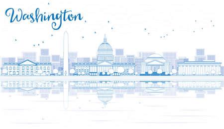 파란색 건물 및 반사와 워싱턴 DC 도시의 스카이 라인 개요. 벡터 일러스트 레이 션. 비즈니스 여행 및 관광 개념입니다. 프레젠테이션, 배너, 플래 카드 일러스트