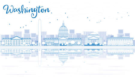 Outline Washington DC City Skyline with Blue Buildings and Reflections. Vector illustration. Business travel and tourism concept. Image for presentation, banner, placard and web site