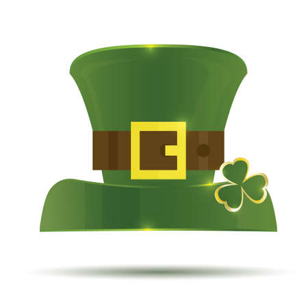 leprechaun hat: Green St. Patricks Day Hat. Vector illustration. Hat isolated on white background.