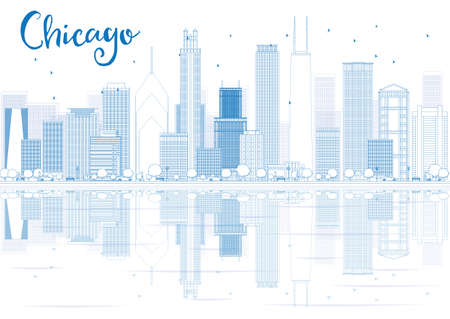 Outline Chicago skyline with blue buildings and reflections. Vector illustration. Business travel and tourism concept with place for text. Image for presentation, banner, placard and web site.