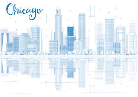 青い建物や反射をシカゴのスカイラインの概要を説明します。ベクトルの図。ビジネス旅行と観光コンセプトのテキスト。プレゼンテーション、バ  イラスト・ベクター素材