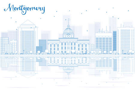 montgomery: Outline Montgomery skyline with blue buildings and reflections. Vector illustration. Business travel and tourism concept with place for text. Image for presentation, banner, placard and web site.