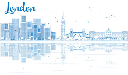 Outline London skyline with blue skyscrapers and reflections. Vector illustration. Business travel and tourism concept with place for text. Image for presentation, banner, placard and web site.