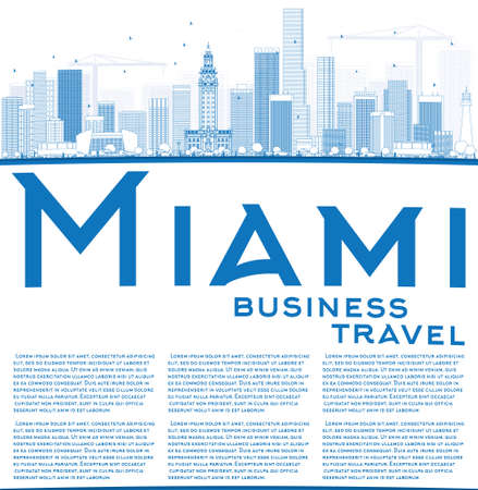 miami: Outline Miami Skyline with Blue Buildings and Copy Space. Vector Illustration. Business Travel and Tourism Concept with Modern Buildings. Image for Presentation Banner Placard and Web Site.